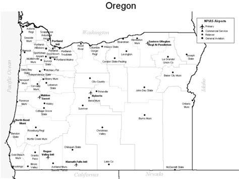 map of oregon airports oregon airport map oregon map