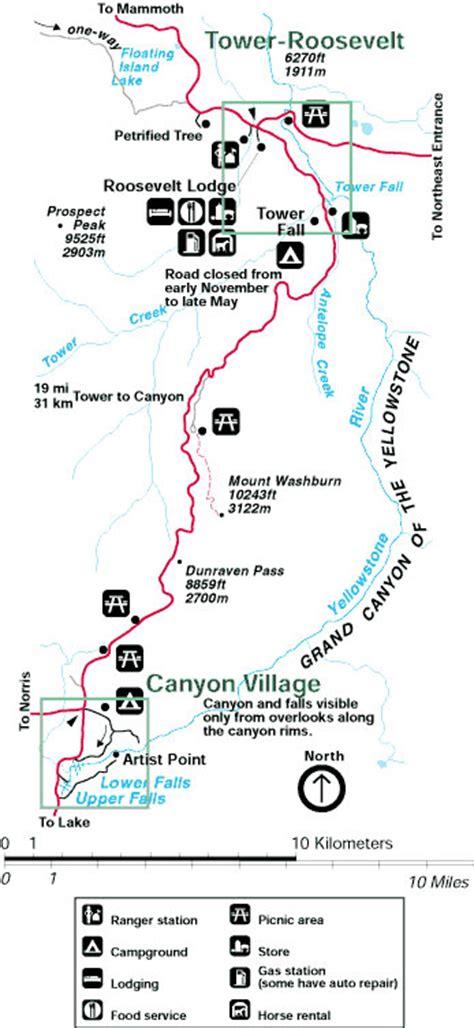 yellowstone national park lodging map yellowstone national park map to tower alltrips