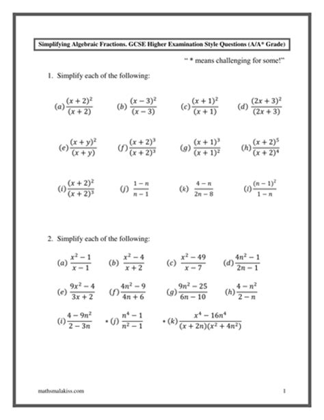 Algebraic Fractions Worksheet by Algebraic Fractions Gcse Higher A A With Answers By