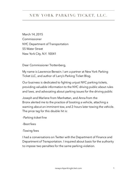 authorization letter to up car from impound letter to commissioner nyc dot about unconscionable boot