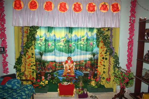 Ganpati Decoration At Home Ganpati Decoration Ideas At Home Images With Flowers