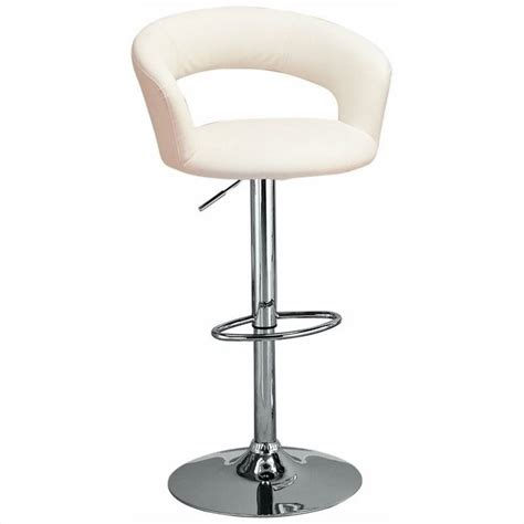 coaster leather look bar chair coaster 29 quot adjustable bar stool in white 120347