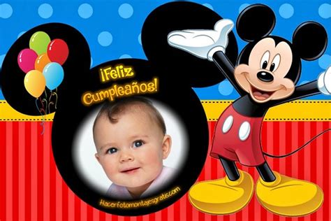 imagenes feliz cumpleaños mickey mouse fotomontaje de feliz cumplea 241 os con mickey mouse hacer