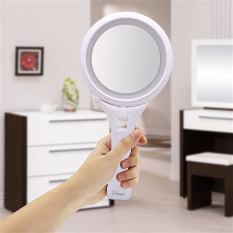 hand mirror with lights ovonni hand held led lighted makeup mirror double