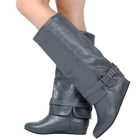 fold cuff womens light gray knee high wedge boots