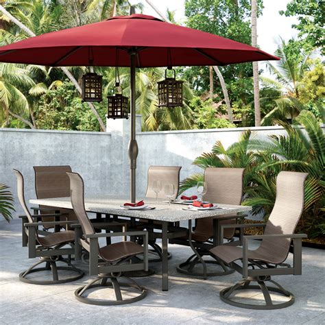 Patio Furniture Umbrellas Homecrest Elements High Back Swivel Rocker 7 Dining Set Hc Elements Set1