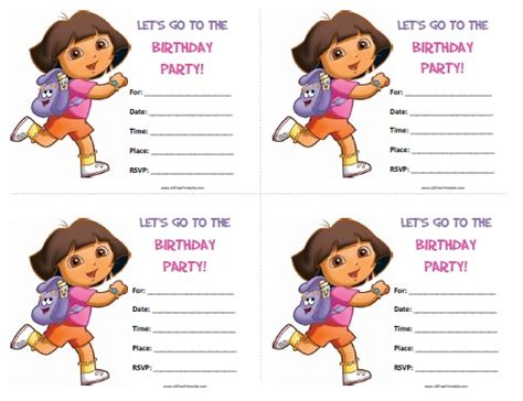 printable invitations dora the explorer dora the explorer birthday invitations free printable