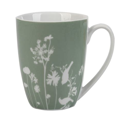 coffee mug floral with bird sage home dining