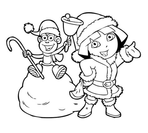 dora christmas coloring pages printable i have download dora and boots in the snow coloring for