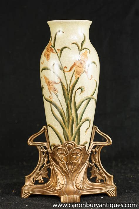 Nouveau Vases by Nouveau Porcelain Vase Ormolu Base Vases Pottery
