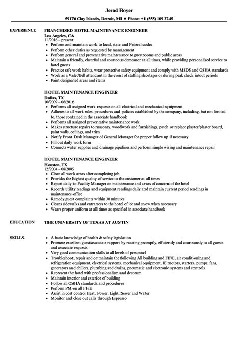 hotel maintenance resume sle hotel maintenance resume resume ideas