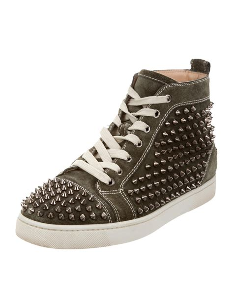 christian louboutin louis flat spikes suede sneakers shoes cht72991 the realreal