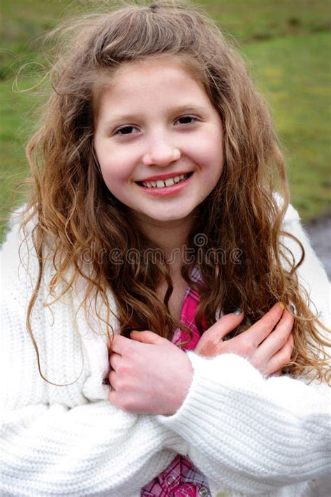 girl face pre smiling preteen girl with long hair stock image image of