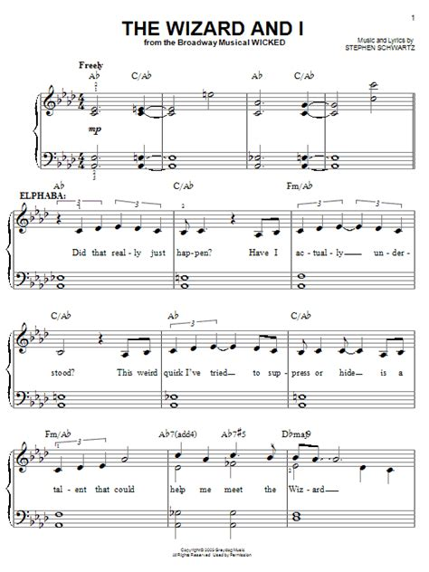 wizard music the wizard and i sheet music by stephen schwartz easy