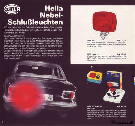 hella rear fog hella fog lights l accessory light brochure 1969