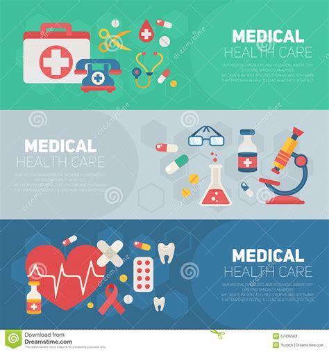 medical banners templates in trendy flat style stock