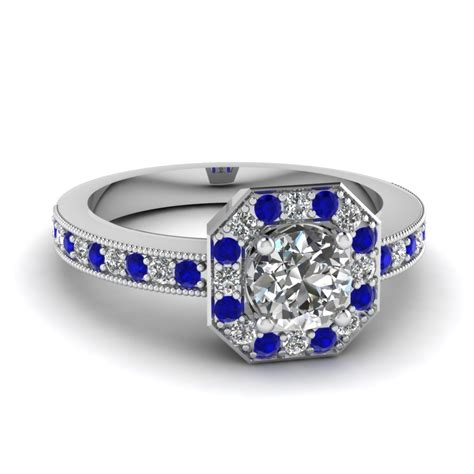 Blue Saphire Oktagon octagon vintage halo engagement ring with