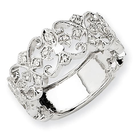Stainless Steel Fleur De Lis Cross Spinning Ring Pendant 14k White Gold Aa Fleur De Lis Ring My Golden Rings