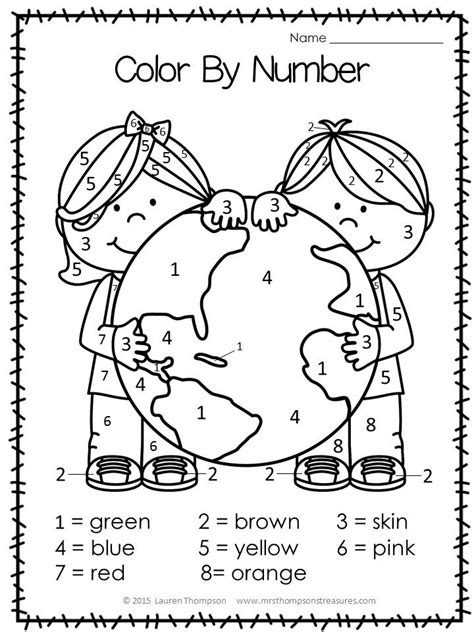 day kindergarten activities free color by number for earth day kindergartenklub