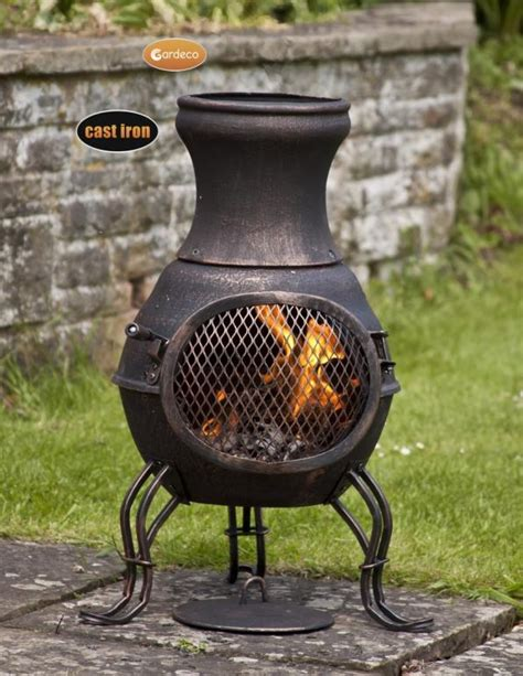 Chiminea Cast Iron by Gardeco Billie Bronze Cast Iron Chiminea H70cm 163 64 99