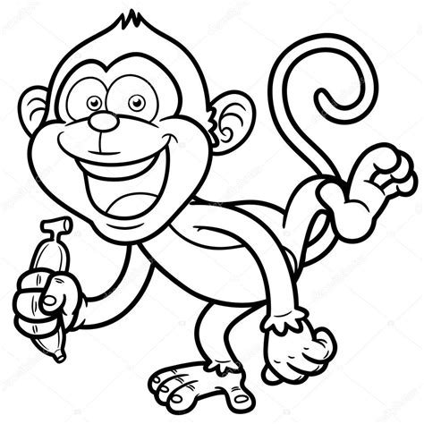 cute monkey coloring pages coloring part 3 cartoon monkey with banana coloring book stock vector