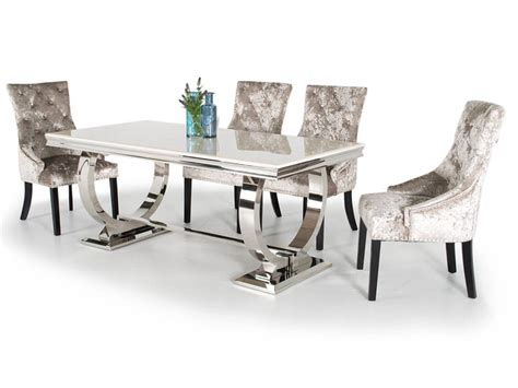 White Marble Dining Table And Chairs Arianna White Marble Large Dining Table 6 Knockerback Chairs