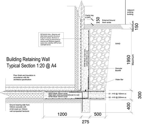 Swimming Pool Layouts 9a retaining wall tanking detail ws planning amp architecture