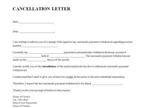 Cancellation Holidays Letter Cancellation Letter Template Word Templates