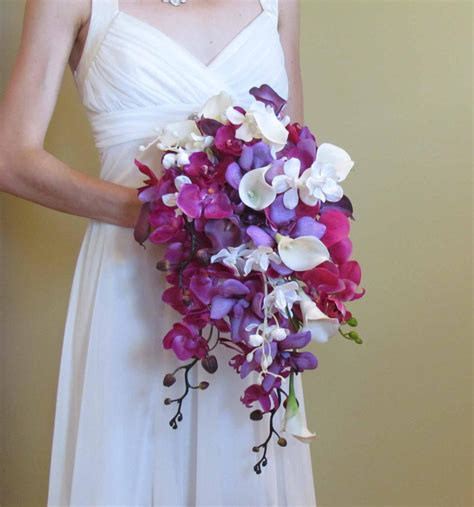 wedding bouquet lilies and orchids cascading purple orchid calla bouquet for your