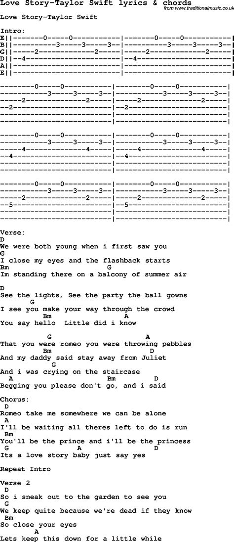 printable lyrics to love story by taylor swift love song lyrics for love story taylor swift with chords