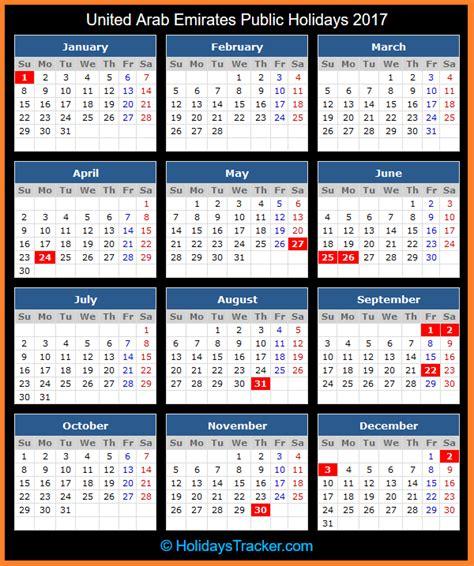 printable calendar 2017 uae united arab emirates public holidays 2017 holidays tracker