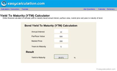 Excel Ytm Calculator Calculator Spreadsheet Free Download Yield To Maturity Excel Template