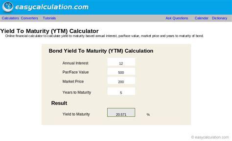 calculator yield excel ytm calculator calculator spreadsheet free download