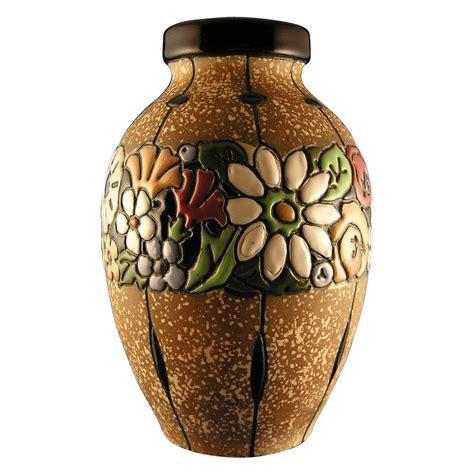 Flowers On A Vase Austrian Amphora Arts Amp Crafts Floral Band Vase C 1900