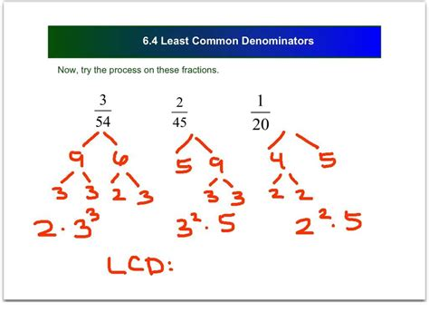 Finding The In Finding The Lcd Of Algebraic Fractions