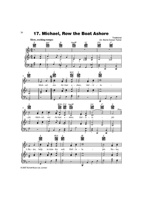 michael row the boat piano michael row the boat ashore sheet music for piano and