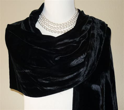 Fashmina Velvet vintage black silk velvet shawl evening wrap with fringe