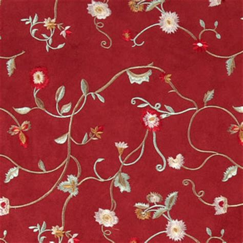 red green  ivory embroidered floral vines suede