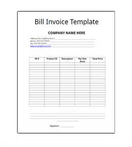 bill invoice template free billing invoice template 8 free sle exle format