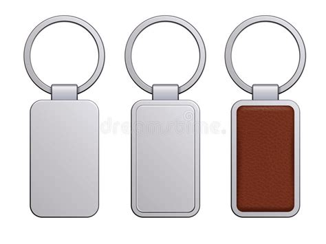 card template key chain realistic keychain pendant template stock vector
