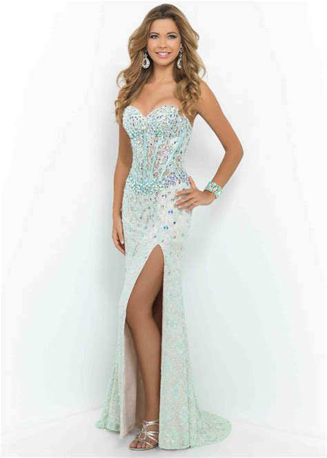 Bridesmaid Dresses With Slits Up The Leg - mint green side slit rhinestone beaded prom