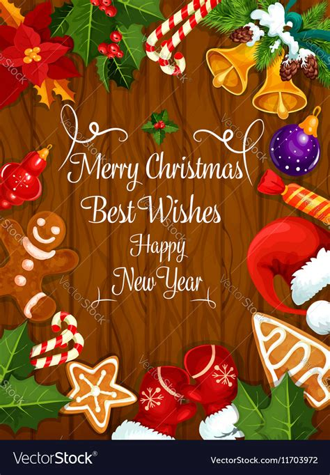 merry christmas  year wishes greeting card vector image