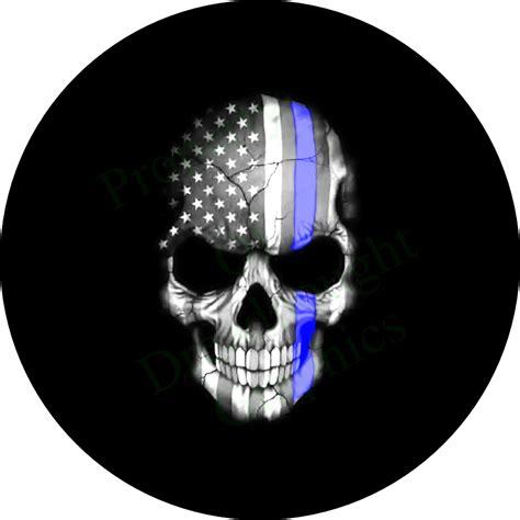 american flag skull thin blue  tire cover
