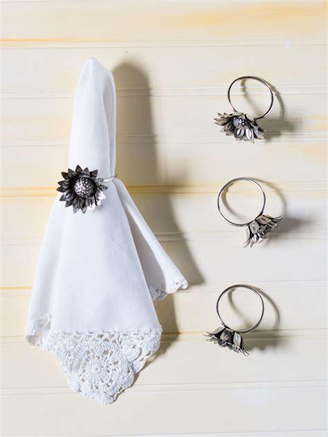 alumunium napkin ring sunflower metal napkin ring linens kitchen napkins