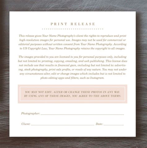 photography print release form template photographer print release 12 things about photographer