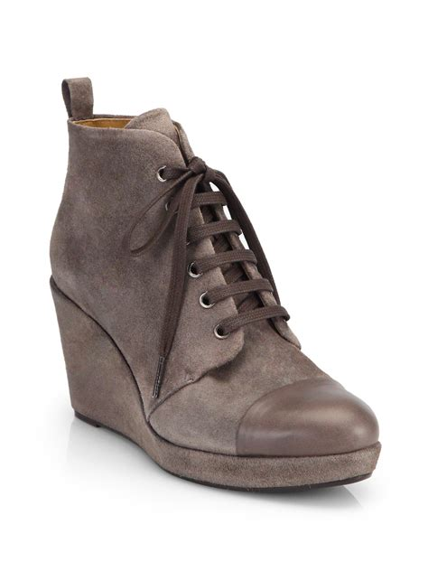 coclico henri suede lace up wedge ankle boots in brown lyst