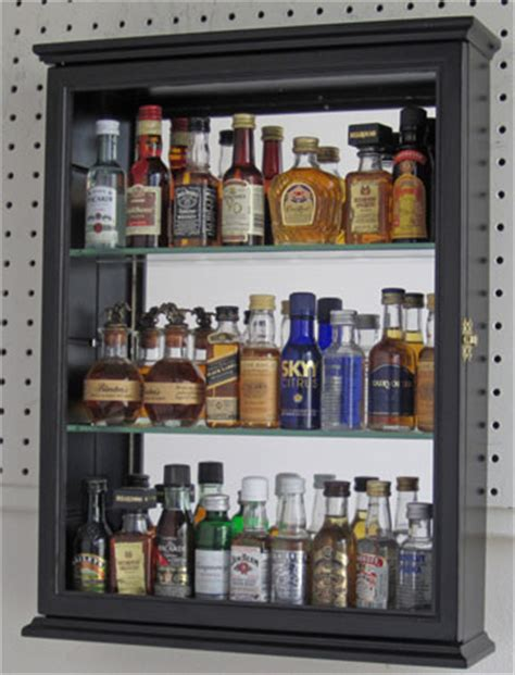 solid wood mini liquor bottle display cabinet shadow