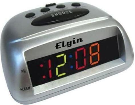 elgin 3374e silver multicolor led bedside alarm clock 0 6 quot multi color led display repeating