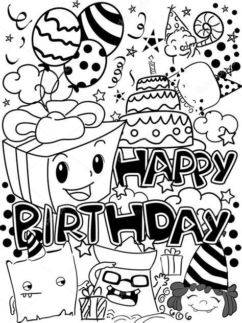 happy birthday doodle easy black and white happy birthday doodles stock photo
