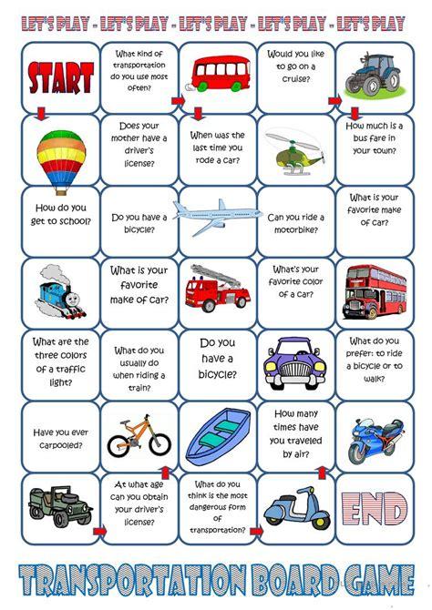 printable games for teaching english transportation board game worksheet free esl printable